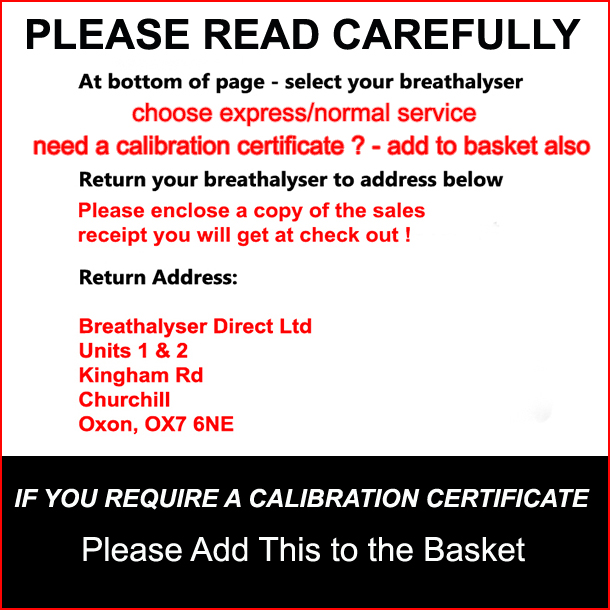 Instructions for returning your beathalyzer for calibration